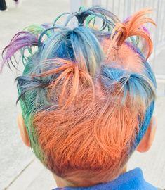 Crazy hair day of October 2018 Coloured Hair Spray, Crazy Hair Days, Ponytail, Blonde Hair, Dreadlocks, Hair Styles, Beauty, Color, Hair Plait Styles