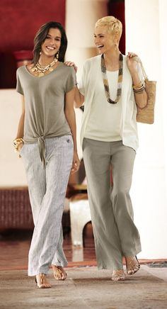 Two ways to wear the linen pants: Keep it kicked back with a tie-front linen tee. Go easy chic with a mixed-fabric cardi. Over 50 Womens Fashion, 50 Fashion, Fashion Over 40, Modern Fashion, Chicos Fashion, Style Fashion, Fashion Women, Fashion Outfits, Summer Outfits