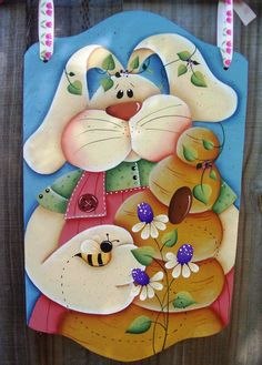 Handpainted Spring Bunny Banner, Wooden Easter Bunny, Holiday, Welcome Greeter, Home Decor Fabric Painting, Painting On Wood, Decoupage, Easter Paintings, Rabbit Crafts, Wooden Rabbit, The Joy Of Painting, Tole Painting Patterns, Arte Country