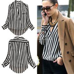 Women's Shirt V-Neck Black White Stripe Blouse Chiffon Shirt Tops