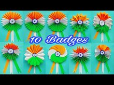 10 Independence Day Badge Making Ideas/DIY/Independence Day Craft/Tri color Badge Making - YouTube Vj Art, Indipendence Day, Badge, Origami Paper Art, Tri, Republic Day, Making Ideas, Decorative Items, Paper Flowers