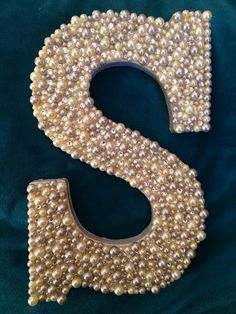 Wooden letter S with white and gray pearls by ScarlettsPlace, $120.00