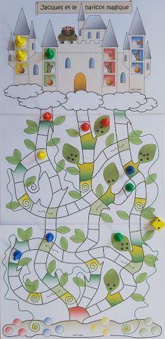 Jeu de hasard et de stratégie pour des enfants de GS CP Grande Section, Jack And The Beanstalk, Kindergarten, Kids Rugs, Spring, Albums, Games, Kids Crafts Diy Easy, Game Tag