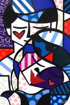 Romero Britto,  Love me tender, 2017,  serigrafia su tela con polvere di diamante, cm 137x91,5