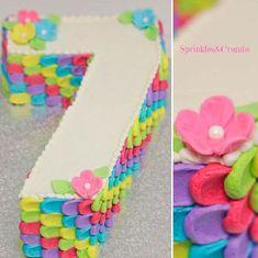 Cakespiration: 29 creative number birthday cakes to make 7th Birthday Cakes For Girls, Number Birthday Cakes, Number Cakes, Birthday Numbers, Baby Birthday, Birthday Parties, 7 Cake, No Bake Cake, Cupcake Cakes