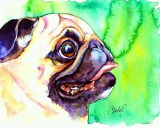 Pug Profile Painting by Christy Freeman - Pug Profile Fine Art Prints and Posters for Sale