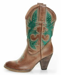 Very Volatile Rio Grande Tan & Teal Embroidered Cowboy Boots - oh my goodness, I want some cowboy boots badly.