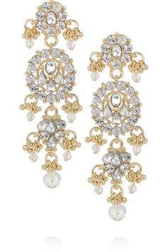 ISHARYA  Maharani Bling 18-karat gold-plated drop earrings