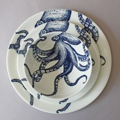 Cream Cornwall Octopus plate