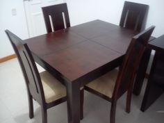 Mesa de comedor extensible madera nogal cocinas for Comedor 12 puestos