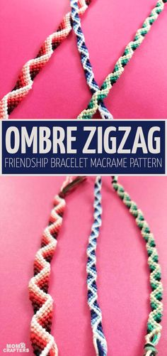 Zig Zag Friendship Bracelet Pattern with a effect! * Moms and Crafters - - Looking for a super cool zig zag friendship bracelet pattern? This unique and easy tutorial shows you how to make it with a cool effect! Bracelet Crafts, Macrame Bracelets, Ankle Bracelets, Gold Bracelets, Knots For Bracelets, Macrame Knots, Micro Macrame, Braclets Diy, Tassel Necklace