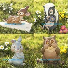 "Disney ""Bambi and Friends' Garden Statues: COLLECTIBLE SET of 4 (thumper, flower, friend owl)"