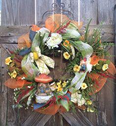 Summer Wreath, Summer Decoration, Everyday Wreath, Gnome Decoration, Gnome Wreath, Home Decor, Birthday Gift, Garden Decor, Gnome Sweet Home on Etsy, $115.00