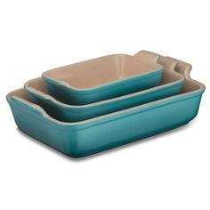 BuyLe Creuset Stoneware Deep Rectangular Oven Dish, Teal, L19cm Online at johnlewis.com