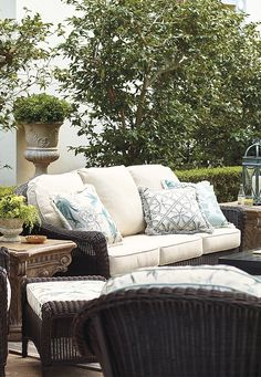Our Charleston Seating embodies the rich history and beguiling charm of this celebrated coastal destination. It's warm and welcoming, yet unyielding against the elements. | Frontgate: Live Beautifully Outdoors