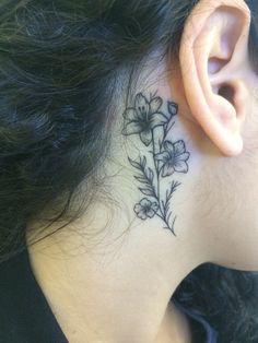 tattoo flower behind the ear  @tatialesssi @21vnteum