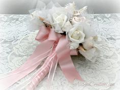 Wedding Bouquet and Boutonniere by A2SeaCreations on Etsy