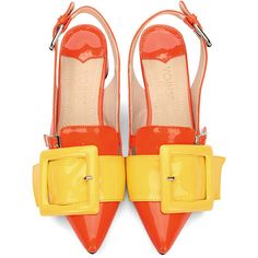 Orange Pointed Toe Low Block Heel Sling-back Shoes With Yellow... ❤ liked on Polyvore featuring shoes, pointed toe shoes, slingback shoes, slip-on shoes, slip on shoes and pointed toe slingbacks