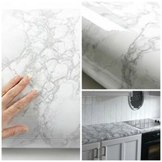 Vinyl Wrap Sticker Decal Sheet Film Marble Effect Self Adhesive Counter Top New Kitchen Cabinets Wrapped, Vinyl Wrap Kitchen, Shaker Kitchen Cabinets, Kitchen Cabinets In Bathroom, Diy Cabinets, Kitchen Countertops, Marble Sticker, Marble Vinyl, Marble Bathroom Counter