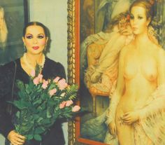 Sara Montiel ~ (1928 – 2013) at the Roca Fuster show where his portrait of her and the star herself were the main attraction. (c.1980's)