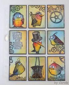 Caro's Welt: (Art) Pocket Letter - Crazy Birds.  (Pin#1: Crazies: Birds,....).