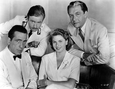 Casablanca behind the scenes with Humphrey Bogart, Claude Rains, Ingrid Bergman and Paul Henreid. #BTS #Cinema #MichaelCurtiz #Film #Classic