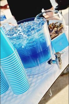 It's called Sea Water. Blue Gatorade, Blue Hawaiian Punch, Vodka, Sprite. I might get creative and add some fruit. Maybe pineapple?