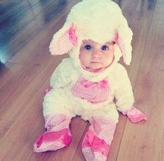 Cute baby lamb costume... Alice I bet this was you as a baby.....