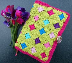 Mrs Thomasina Tittlemouse: Granny Square Book Cover & Pencil Scribblings - no pattern but love the colours, looks simple enough to design
