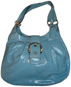 Women's Coach Purse Handbag Soho Pleated Patent Leather Large Lynn Hobo Bag Mineral Blue F16595