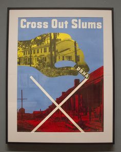 """Lester Beall """"Cross Out Slums"""" Lithograph and Screenprint 1937-1941"""