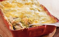 Treat your family with this cheesy casserole that's layered with turkey and tortilla chips. Old El Paso® chiles add a spicy flavor to this delicious Mexican dinner. Great Recipes, Favorite Recipes, Leftover Turkey Recipes, Glass Baking Dish, Thanksgiving Recipes, Thanksgiving Leftovers, Casserole Recipes, Turkey Casserole, International Recipes