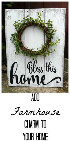 Bless this home! The farmhouse wood sign is beautiful! What a great piece for the foyer. #farmhouse #woodsign #etsy #farmhousesign #affiliatelink
