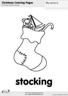 Free stocking coloring page from Super Simple Learning. Tons of Christmas worksheets, flashcards, and crafts at www.supersimplelearning.com/resource-room. #kindergarten #preK #ESL