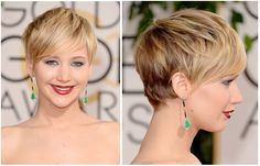 Jennifer Lawrence pixie hair - lots of movement.   Just had mine done on Tuesday.   Pixie w/side bangs rocks!