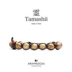 Tamashii - Bracciale Tradizionale Tibetano realizzato con pietre naturali GIADA MARRONE