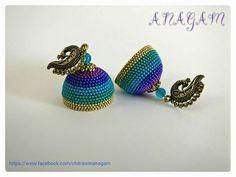 Silk Thread Jumkas, Silk Thread Earrings, Silk Thread Bangles, Thread Jewellery, Diy Jewellery, Beaded Necklace Patterns, Jewelry Patterns, Tatting Jewelry, Beaded Jewelry