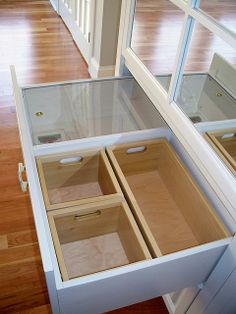 Bread drawer & lift out wood boxes - lower drawer storage