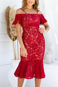 Erica Dress - Red Lace Dress, Strapless Dress, White Dress, Dress Red, Sisters The Label, Semi Formal Dresses, Womens Fashion Stores, Online Fashion Boutique, Cold Shoulder Dress