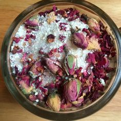 DIY Skin Care Recipes : These beautiful bath crystals are a combination of Epsom salt, Himalayan pink salt, powdered milk, rose buds, rose petals and an essential oil blend of Moroccan Chamomile and Geranium. -Read More – Love Rosy, Mountain Rose Herbs, Bath Tea, Milk Bath, Dried Rose Petals, Dried Flowers, Beauty Recipe, Homemade Beauty, Diy Beauty