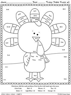 FREEBIE : Thanksgiving Seasonal Math Printables   ~ 2 FREE Color By The Code Puzzles To Practice Addition   ~Puzzles Are Aligned To The CCSS. Each Page Has The Specific CCSS Listed.~ by janelle