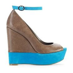 "I bet these wedges will last as long as her pregnancy.  Love!  Jessica Simpson ""Carrack"" Leather Peep-Toe Platform Wedge."