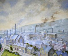 View of Stocksbridge, Sheffield, from the Clock Tower Gardens, Late 1940s..Oil by Robert Penistone, painted in 2008..