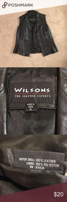 ·VINTAGE WILSONS LEATHER VEST· 100% leather vest. I usually wear L or XL and it is kind of small on me! awesome find 💯 Wilsons Leather Jackets & Coats Vests