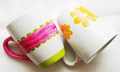 DIY INSPIRATION:  Flowers Mug Set of 2 by EvaArtWorld on Etsy.  All creations are signed by Eva. Coffee and tea porcelain Mugs, hand painted with non toxic paint. Baked to increase the resistance of the paint. The upper side of the handles get the same pattern as the mugs. Safe in dishwasher at low temperature. Please don't put them in microwave and oven. Size: High 4.5 inches; Max width 4.10; Weight 13.6 oz/each $35 Thank you for visiting!