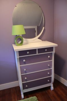 Refinished dresser and knobs for Lila's nursery