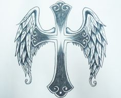 Cross Tattoo with angel wings Designs | Cross with angel wings