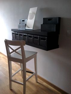 IKEA  Inspirational idea for a small space dressing table / area! Use the boxes to store jewellery and small items, with a Tysnes mirror and some Lack shelves!