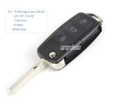 5pcs 3 Buttons Uncut Flip Remote key With 315Mhz ID48 Chip for Volkswagen Seat Skoda- 1J0 959 753 DJ