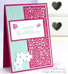 Stampin' Up! Demonstrator Pootles - Cottage Greetings Happy Birthday with Flowers!